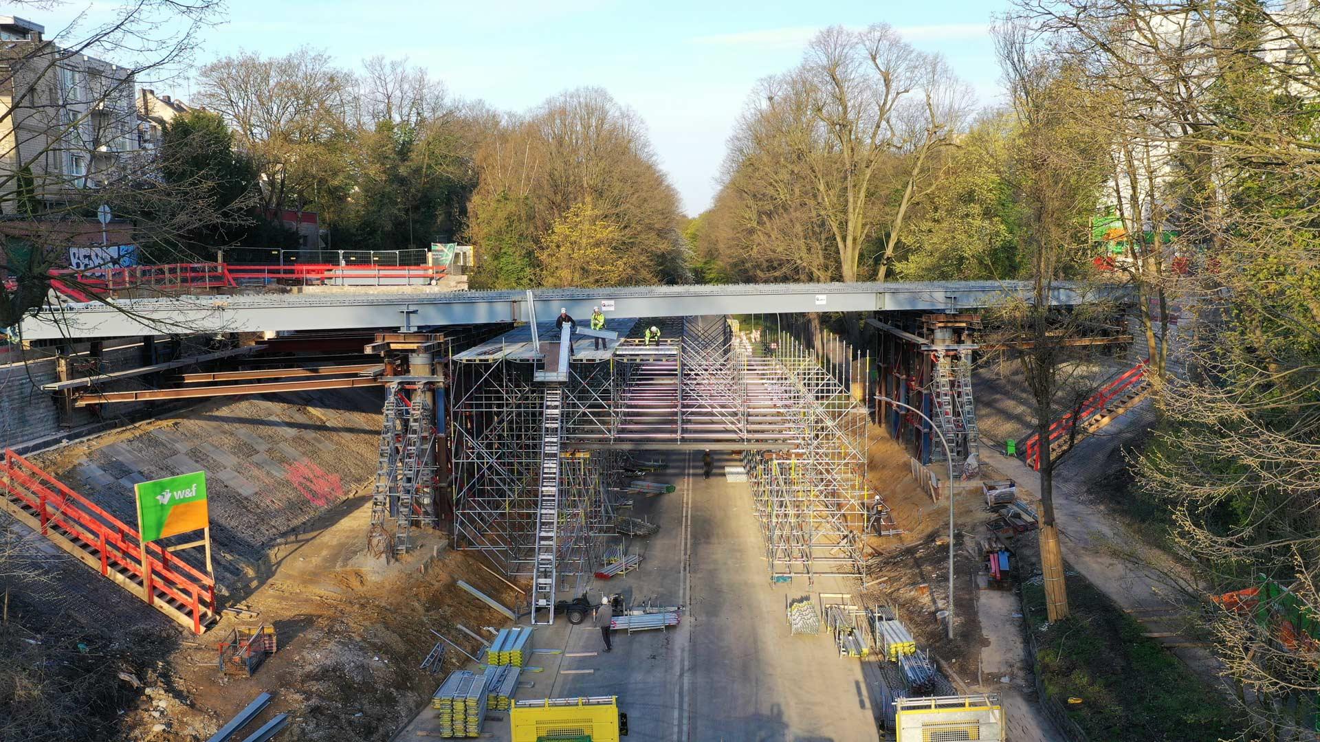 Draheim Steel Brücke Viersener Straße im Bau